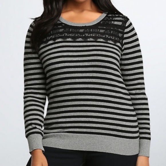 💖BOGO💖 Torrid Striped Lace Inset Sweater
